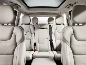 White Leather interior After Protektiv Surface Coating