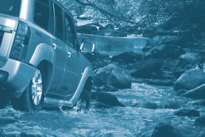 4WD Goes Off Road Through Water