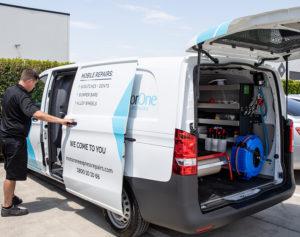 State Of The Art MotorOne Express Repairs Van With Technician
